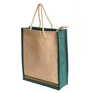 SellnShip EcoFriendly Jute Bag Lunch Bag Gift bag Shopping Bag for Women Men with Zip Handle Ideal for Lunch B