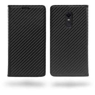Ceego Compact Carbon Fiber Flip Cover for Redmi Note 5 With Magnetic Lock (Super Black)