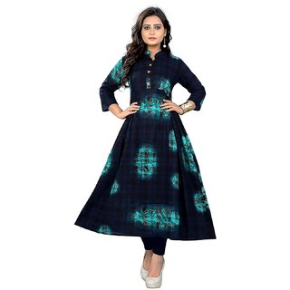 Vaikunth Fabrics Kurti In Navy Blue Color And Cotton Fabric For Womens VF-KU-123