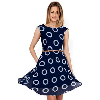 APM Royal Party Wear Round Neck Sleeveless Georgette Dress For Women (Blue)