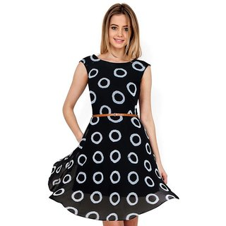 APM Royal Party Wear Round Neck Sleeveless Georgette Dress For Women (Black)