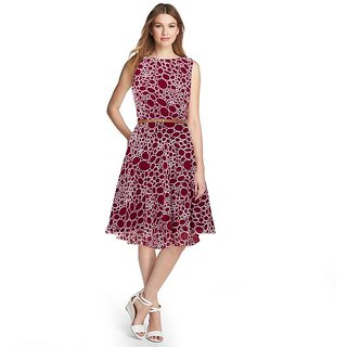 APM Royal Latest Printed Round Neck Georgette Dress For Women Maroon (Belt Free)