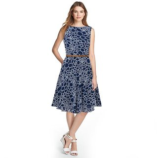 APM Royal Latest Printed Round Neck Georgette Dress For Women Blue (Belt Free)