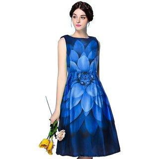 APM Royal Flower Printed Sleeveless Round Neck Midi Satin Dress For Women Blue