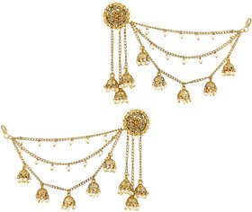 Asmitta Traditional Bahubali Design Gold Plated Jhumki Earrings With Hair Chain For Women