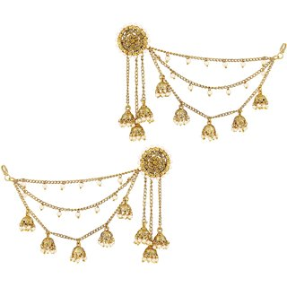 Asmitta Traditional Bahubali Design Gold Plated Jhumki Earrings With Hair Chain For Women