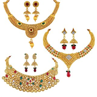 5c9903f569d61 Buy Asmitta Traditional Jalebi Design Gold Plated Set Of 3 Choker Necklace  Set Combo For Women Online - Get 68% Off