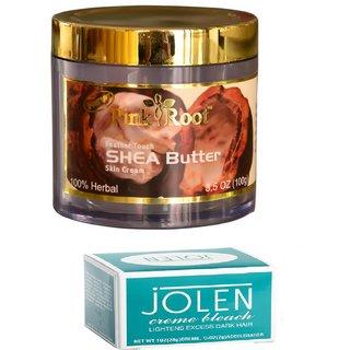 JOLEN Creme Bleach (MEDIUM) 35G and Pink Root Shea Butter Skin Cream 100gm