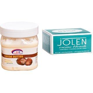 JOLEN Creme Bleach (MEDIUM) 35G and Pink Root Cocoa Butter Cream 500ml