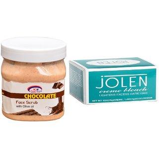 JOLEN Creme Bleach (MEDIUM) 35G and Pink Root Chocolate Scrub 500ml