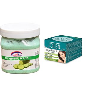 JOLEN Aloe Vera Bleach Crme (MEDIUM) 35G and Pink Root Cucumber Scrub 500ml