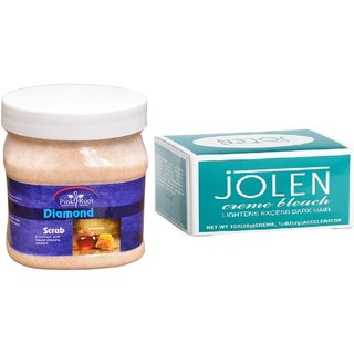 JOLEN Creme Bleach (MEDIUM) 35G and Pink Root Diamond Scrub 500ml