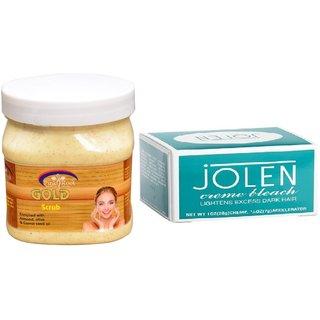 JOLEN Creme Bleach (MEDIUM) 35G and Pink Root Gold Scrub 500ml