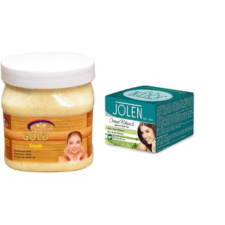 JOLEN Aloe Vera Bleach Crme (MEDIUM) 35G and Pink Root Gold Scrub 500ml
