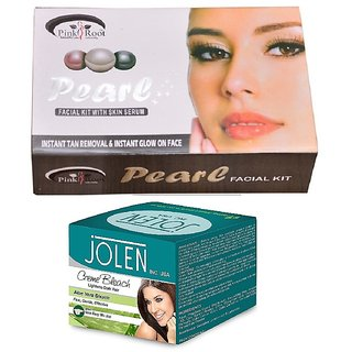 JOLEN Aloe Vera Bleach Crme (MEDIUM) 35G and Pink Root Pearl Facial Kit 83g