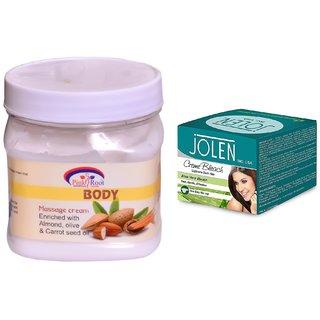 JOLEN Aloe Vera Bleach Crme (MEDIUM) 35G and Pink Root Body Massage Cream 500ml