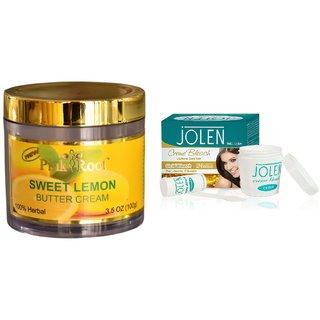 JOLEN Gold Bleach Crme (MEDIUM) 35G and Pink Root Sweet Lemon Butter Cream 100gm