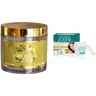 JOLEN Gold Bleach Crme (MEDIUM) 35G and Pink Root Olive Butter Cream 100gm