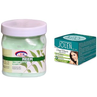 JOLEN Aloe Vera Bleach Crme (MEDIUM) 35G and Pink Root Neem Cream 500ml