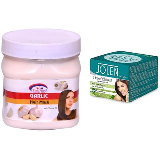 JOLEN Aloe Vera Bleach Crme (MEDIUM) 35G and Pink Root Garlic Hair Mask 500ml