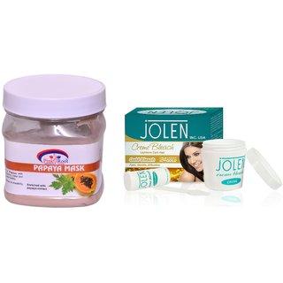 JOLEN Gold Bleach Crme (MEDIUM) 35G and Pink Root Papaya Mask 500ml