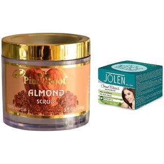 JOLEN Aloe Vera Bleach Crme (MEDIUM) 35G and Pink Root Almond Scrub 100gm