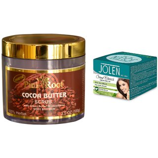 JOLEN Aloe Vera Bleach Crme (MEDIUM) 35G and Pink Root Cocoa Butter Scrub 100gm