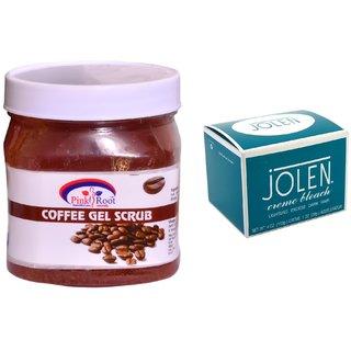 JOLEN Crme Bleach (MEDIUM) 35G and Pink Root Coffee Gel Scrub 500ml