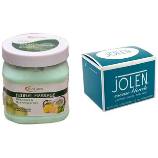 JOLEN Crme Bleach (MEDIUM) 35G and Biocare Herbal Massage Cream 500ml