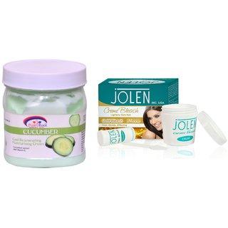 JOLEN Gold Bleach Crme (MEDIUM) 35G and Pink Root Cucumber Cream 500ml