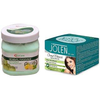 JOLEN Aloe Vera Bleach Crme (MEDIUM) 35G and Biocare Herbal Massage Cream 500ml