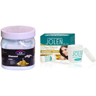 JOLEN Gold Bleach Crme (MEDIUM) 35G and Pink Root Diamond Cream 500ml
