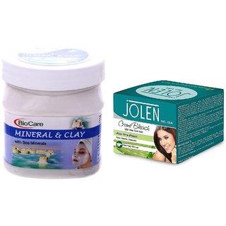 JOLEN Aloe Vera Bleach Crme (MEDIUM) 35G and Biocare Mineral & Clay 500ml