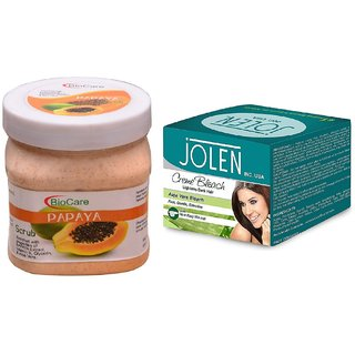 JOLEN Aloe Vera Bleach Crme (MEDIUM) 35G and Biocare Papaya Scrub 500ml