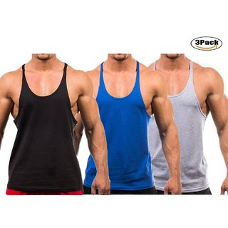 The Blazze Men's Blank Stringer Y Back Bodybuilding Gym Tank Tops Pack of 3