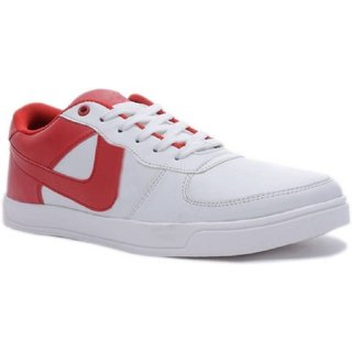 Cyro Men's White & Red Canvas New Look Casual Shoes