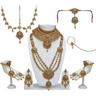 c06212319365c Lucky Jewellery Bridal Golden Color Alloy Gold Plated Wedding Jewellery Set  For Girls & Women
