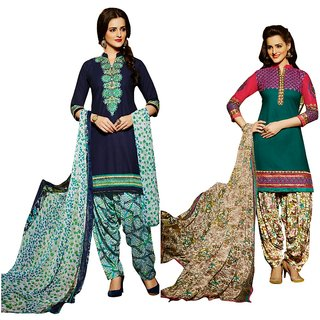 BanoRani Womens MultiColor Color Cotton Embroidered UnStitched Dress Material(Combo of 2,Free Size,K-1620_1626)