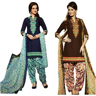 BanoRani Womens MultiColor Color Cotton Embroidered UnStitched Dress Material(Combo of 2,Free Size,K-1620_1631)