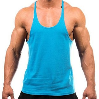 The Blazze Men's Blank Stringer Y Back Bodybuilding Gym Tank Tops