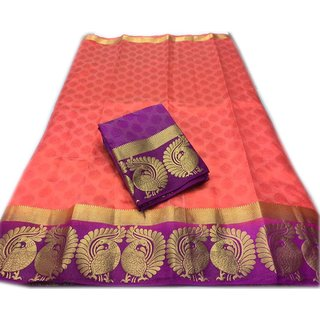 Indian Beauty Kanjivaram Emboss Tussar With Jecqured Border With Blouse Saree