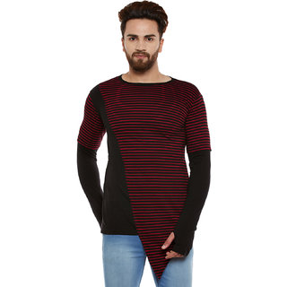 Hypernation Striped Men's Thumb Hole Asymmetrical T-shirt