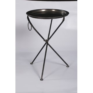 NAHTA TABLE WITH TRAY in Black nickle finish