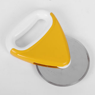 Bluzon Stainless Steel Rolling Royal Wheel Pizza Cutter (Yellow)