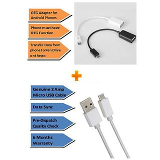 Pinnaclz Combo of Ultra Fast 2Amp Micro USB Charge  Data Sync Cable 1m + OTG Adapter Micro USB (Assorted Colour)