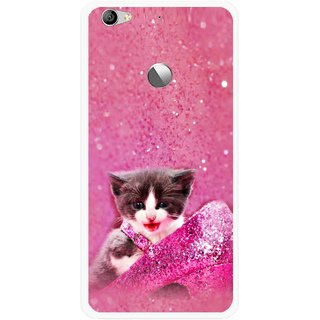 Snooky Printed Pink Cat Mobile Back Cover For Letv Le 1S - Multi