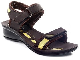 Azotic PU Trend Brown Sandals For Women