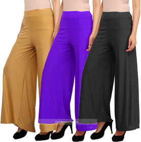 Pixie's Stylish Casual Wear Pant Palazzo Combo (Pack of 3) - Free Size
