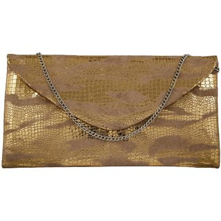 TARUSA Gold Suede Abstract Texture Clutch For Women