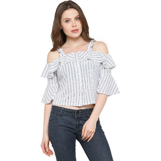 d89eacdebb604b Inspire World American Crape Stipes Frilly Top in Black and White Color,  3/4th